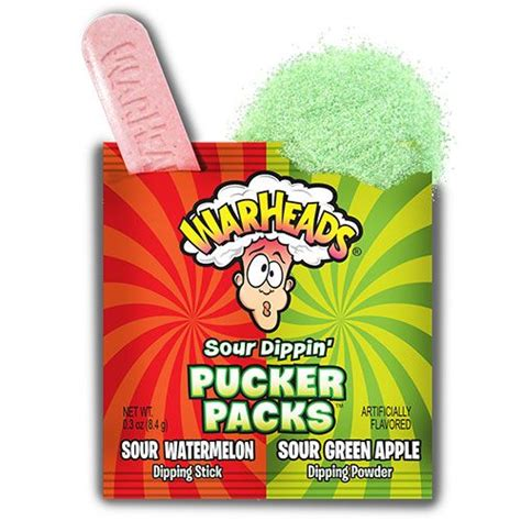 Warheads Sour Dippin Pucker Pack Watermelon Green Apple Permen Asam Us warhead sour dippin pucker packs 2014 cs products