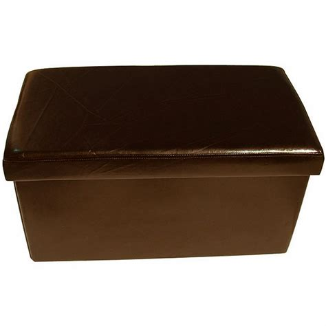 leather ottoman storage box large brown colour leather fold flat ottoman storage box