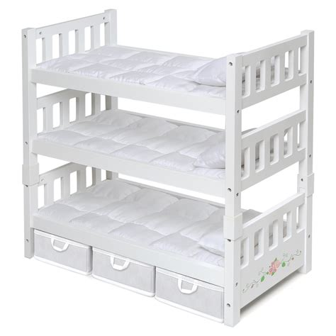 Baby Doll Bunk Bed Badger Basket 1 2 3 Convertible Doll Bunk Bed For 18 In Doll With Storage Baskets White