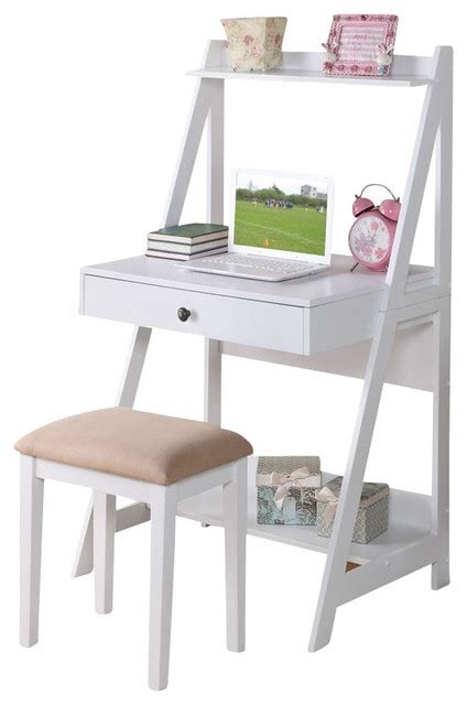 2 big drawer storage shelf desk set white