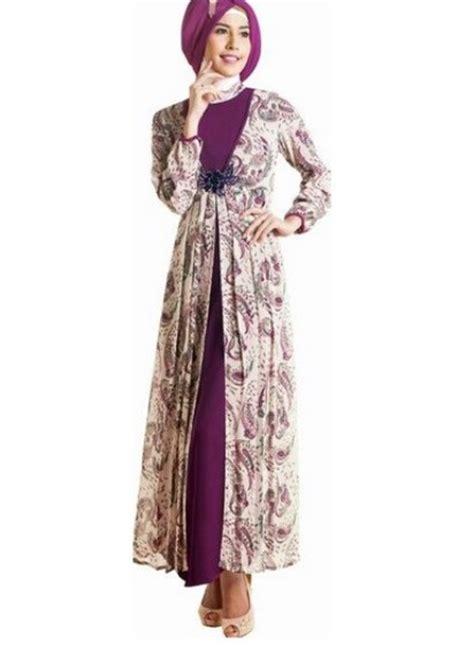 gambar gamis model baju batik muslim modern untuk wanita berhijab