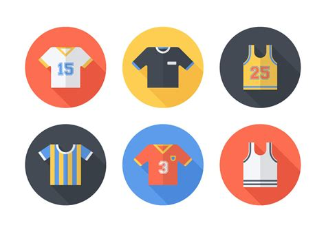 Sportwear Set colorful jersey sportswear icon set vector