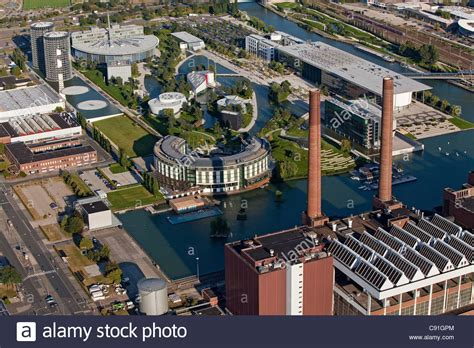 volkswagen germany factory aerial view of volkswagen autostadt factory halls and