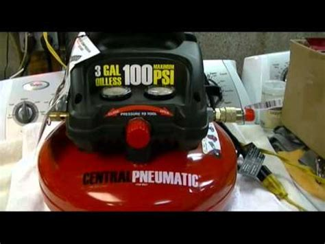 harbor freight central pneumatic 3 gallon oilless pancake style air compressor review