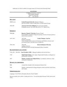exles of resumes standard format resume in canada