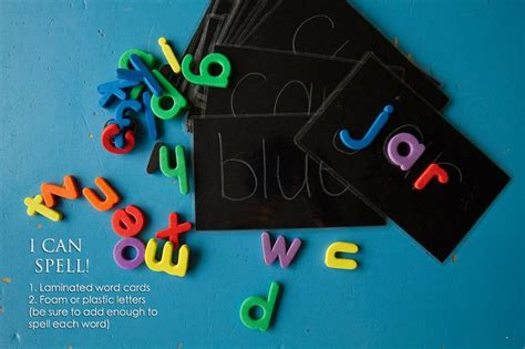 spelling busy bag this one laminate a card with 3 letter