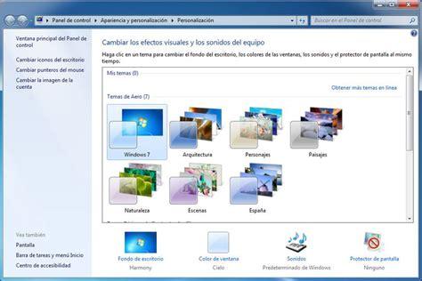 como cambiar escritorio en windows 7 cambiar o personalizar los temas de windows 7