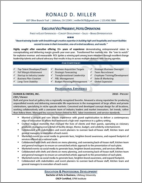exle of a resume executive resume sles professional resume sles