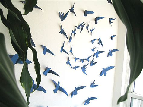 How To Make 3d Paper Birds - back to create a mural effect with 3d wall