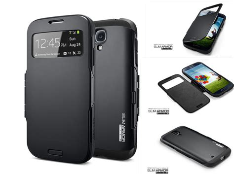 Spigen Slim Armor S View For Samsung Galaxy S4 Bahan Doff for samsung galaxy s4 siv i9500 spigen sgp slim armor view