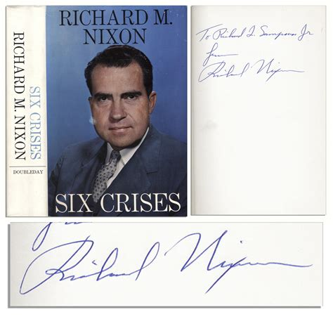 lot detail richard nixon signed copy of his book six