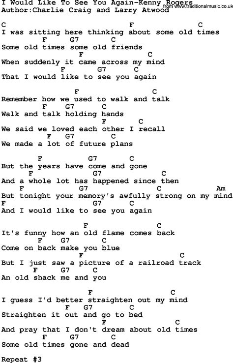 printable lyrics chords country music i would like to see you again kenny rogers