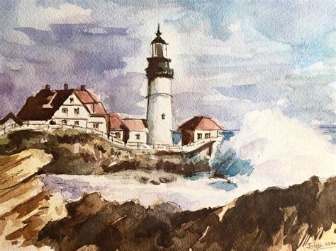 watercolor painting lighthouse watercolor painting watercolor painting original