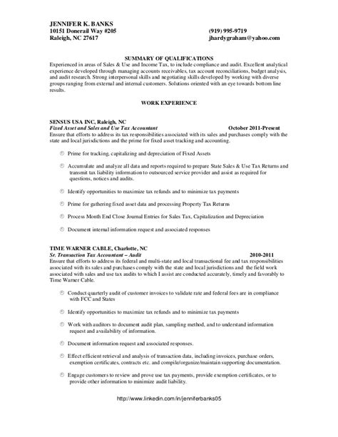 accounting resume sles sales and use tax accountant banks