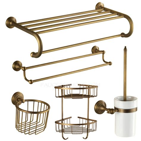 Vintage Antique Brass European Style 5 Piece Bathroom Vintage Bathroom Accessories Sets