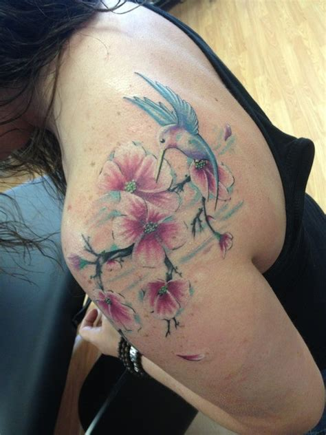 hummingbird with flower tattoo designs 83 wonderful flowers shoulder tattoos