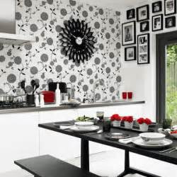 monochrome kitchen diner dining room wallpaper ideas