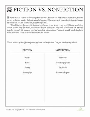 Nonfiction Reading Comprehension Worksheets by Fiction Vs Nonfiction Worksheet Education