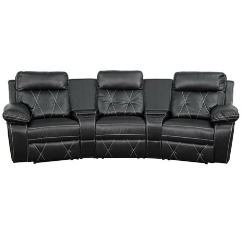 Reclining Seat Theater by 3 Seat Leather Reclining Home Theater Seating In Black
