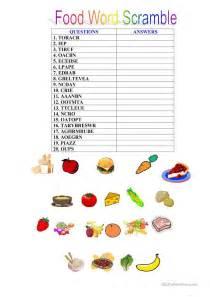 scrabbled words food scrambled words worksheet free esl printable
