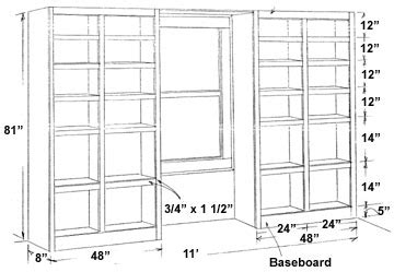 woodwork building bookcase into wall pdf plans