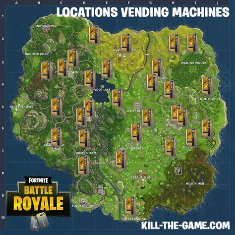 fortnite vending machine fortnite battle royale map locations of all vending