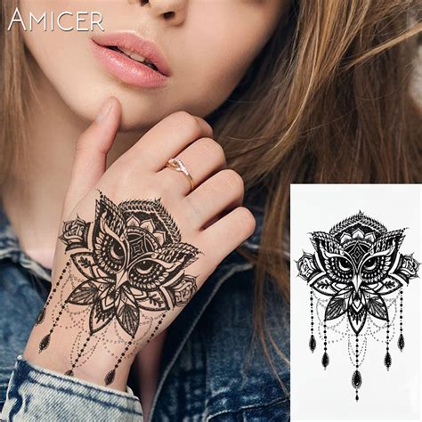 big henna tattoos lace owl black white large flower henna