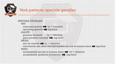 verb pattern en español engels secundair onderwijs verb patterns speciale