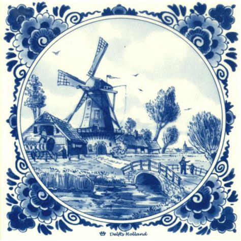 fliese 15x15 delft blue tile ranch windmill bridge tiles