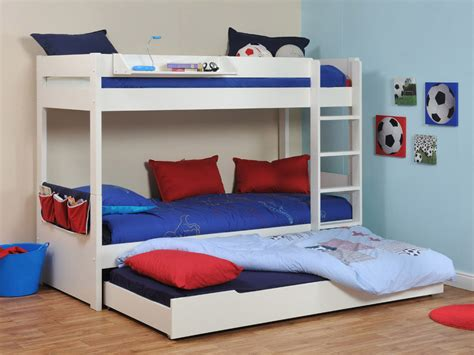 Childrens Bunk Beds Uk Buy Stompa Classic White Bunk Bed With Trundle Bed Bedstar Co Uk Bedstar