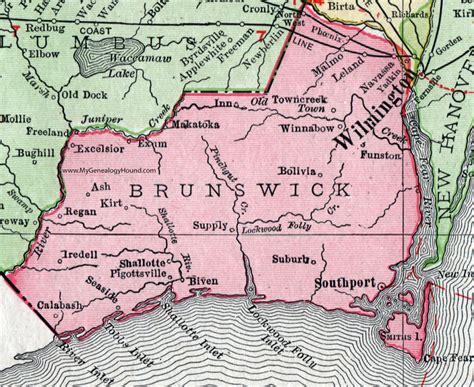 Brunswick County Nc Records Brunswick County Carolina 1911 Map Rand Mcnally Navassa Southport Shallotte