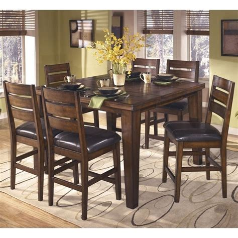 ashley larchmont  piece wood counter height dining set
