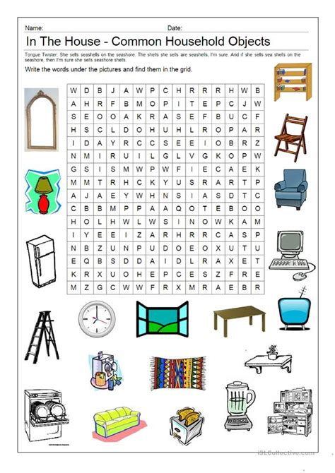 Search In Delaware Picture Word Search In The House Worksheet Free Esl Printable Worksheets Made By