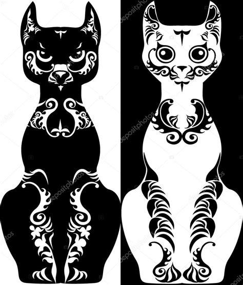imagenes para cumpleaños blanco y negro gato de la imagen estilizada con dibujos blanco y negro