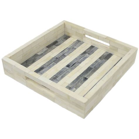 home decor tray grey slate striped bone inlay decorative tray roomattic