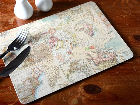 Creative Selling Everyday set of 4 everyday home atlas map cork backed placemats