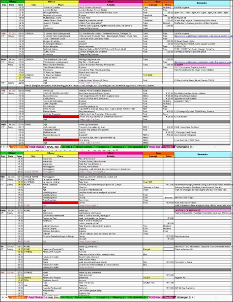 excel itinerary template 6 downloadable vacation itinerary planner template