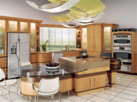 center island with attached table kitchen ideas