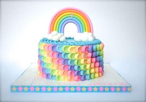rainbow birthday cake buttercream petal cake  rainbow colors rainbow  clouds