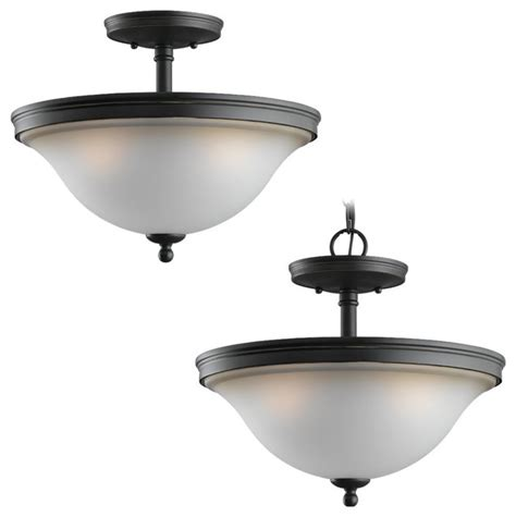 Traditional Flush Ceiling Lights Sea Gull Three Light Semi Flush Convertible Pendant Traditional Flush Ceiling Lights By