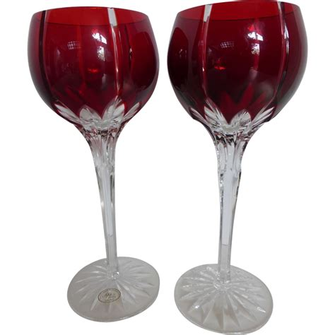 wine goblets vintage ajka castille cased ruby red cut to clear crystal