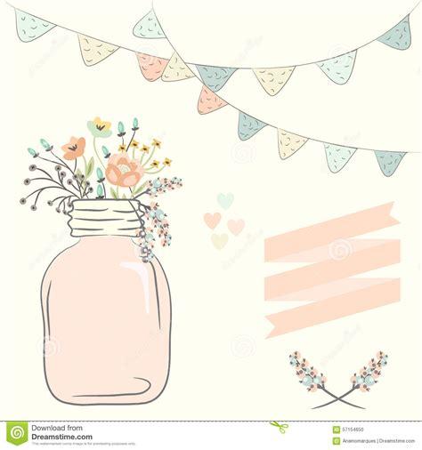 cute bouquet of wedding flowers in a glass jar vector