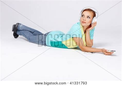 attractive lying on stomach on the floor