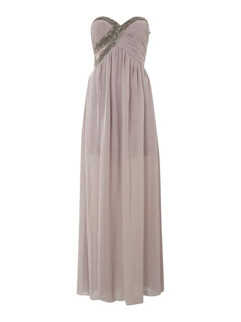 draped maxi little mistress draped maxi embellished drs in beige