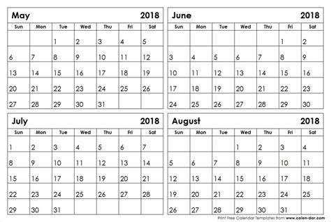 Calendar Through 2018 May Through August 2018 Calendar Larissanaestrada
