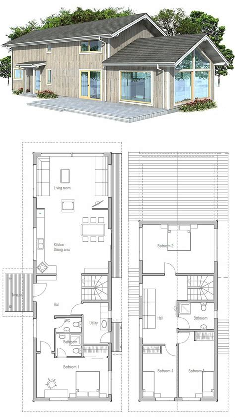 Vaulted Ceiling 4 Bedroom House Plans Narrow Home With Four Bedrooms And Vaulted Ceiling In The