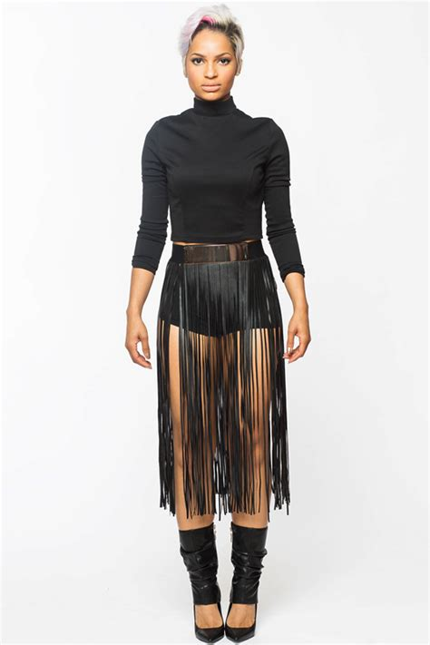outer fringe faux leather skirt flyjane