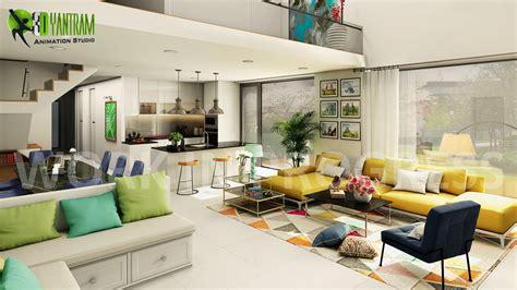 interior open kitchen  living room modeling