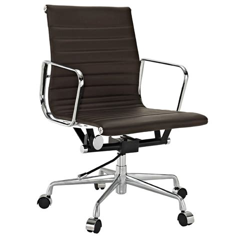 amazon com lexmod ribbed mid back office chair in brown