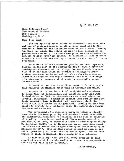 Invitation Letter Professor Faculty Student Committee Invitation To Mcgeorge Bundy 183 Resistance And Revolution The Anti